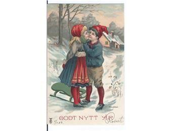 Sign. Max Hänel.Ung kärlek i kälkbacken. Från 1903.