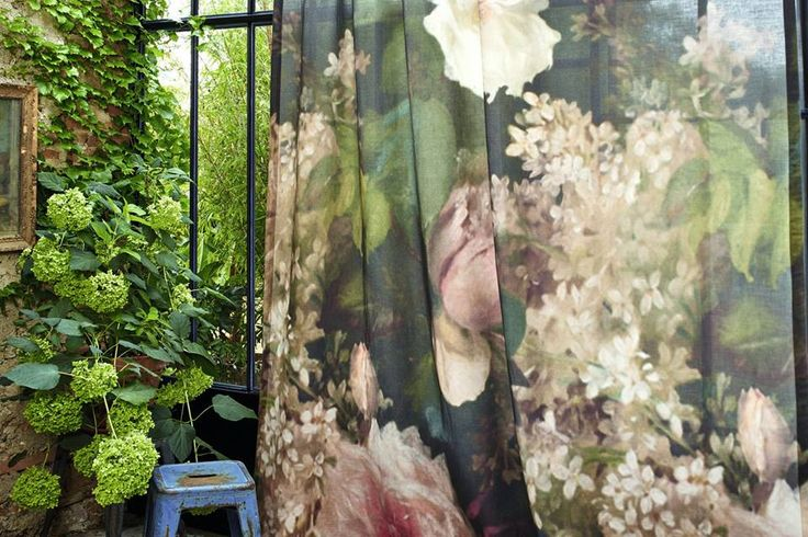 New fabric collection. Artémis flower gardens blossom and bloom in giant proportions. Digital printing on linen, wide width 300cm #fabric, #flowers, #curtain, #elitis