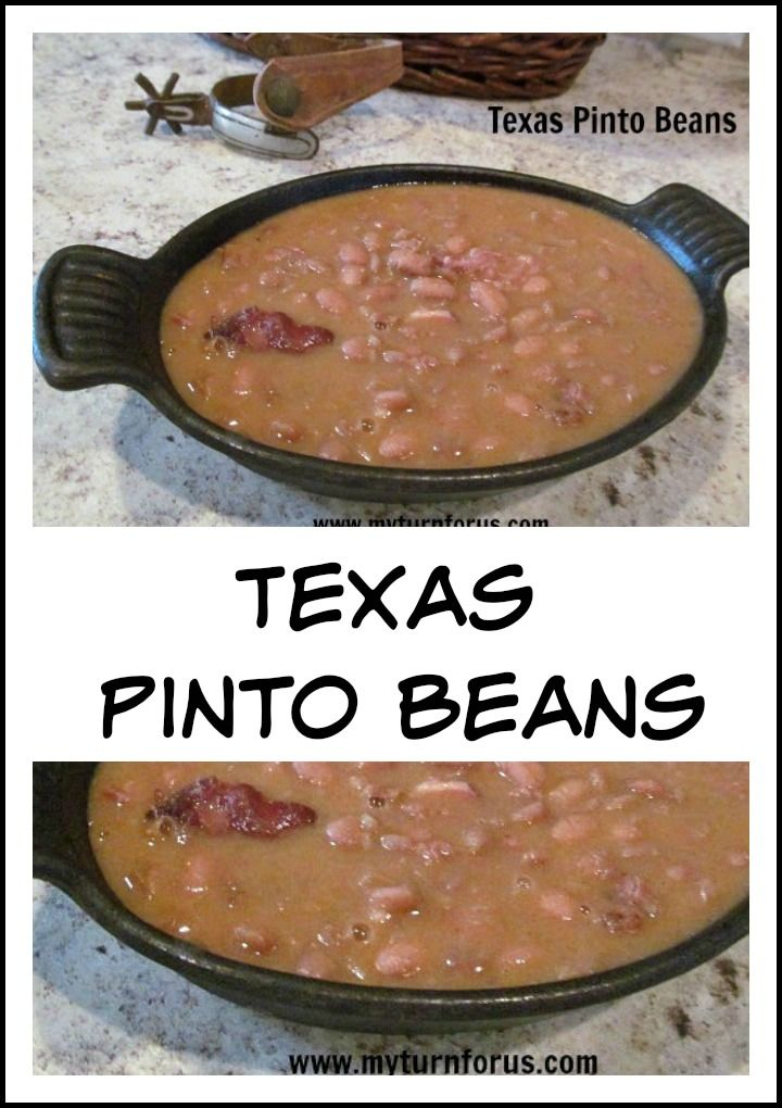 Texas Pinto Beans are a staple in most households in Texas, perfectly seasoned and cooked to perfection.  http://www.myturnforus.com/2014/07/texas-pinto-beans.html