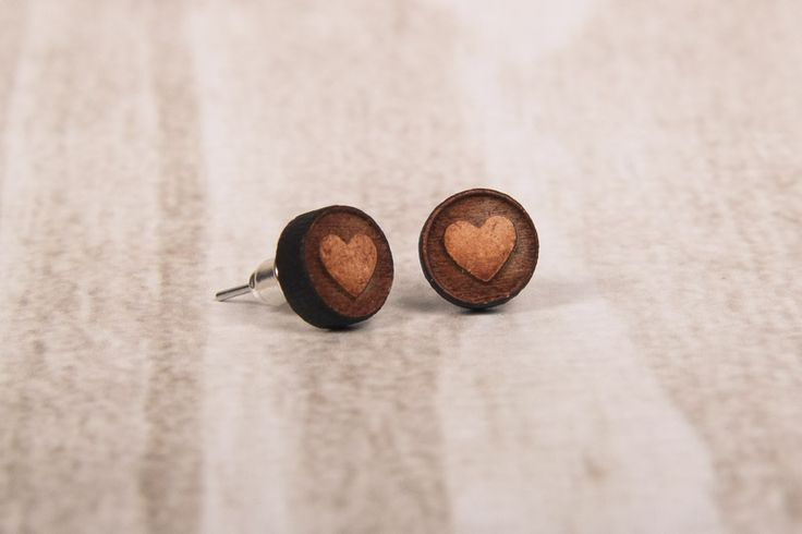 Wooden Laser Cut Small Round Heart Earrings made in South Africa