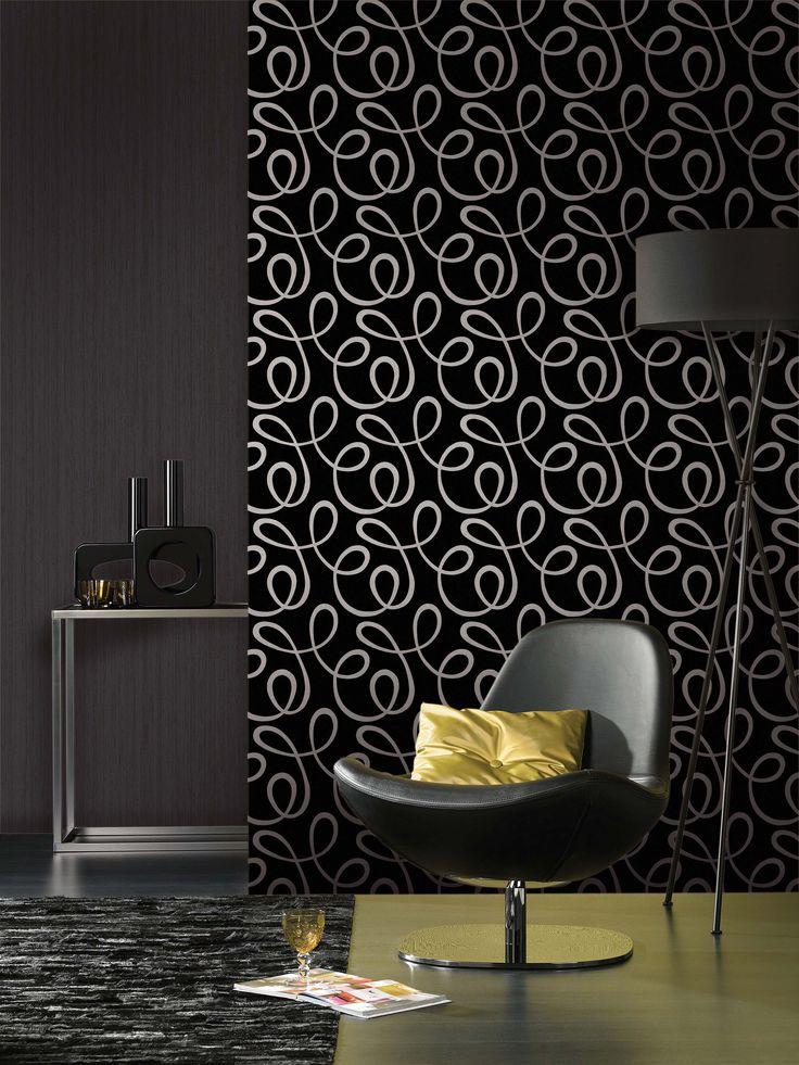 Empapelado - Rulo negro con blanco - Papel de parede