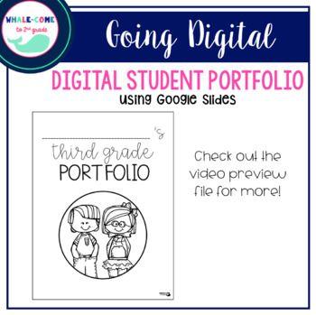 Digital Student Portfolio with Google Slides for 1st-5th grades #whalecometo2ndgrade #studentportfolio #digitalclassroom
