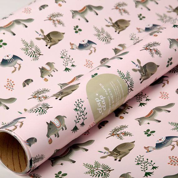 So pretty! - Forest Animals Wrapping Paper by clapclapdesign on Etsy