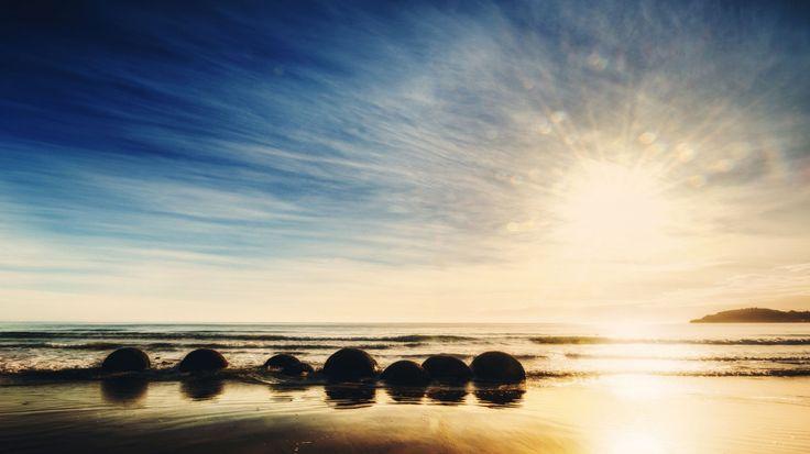 1366x768 Обои new zealand, новая зеландия, океан, восход, камни