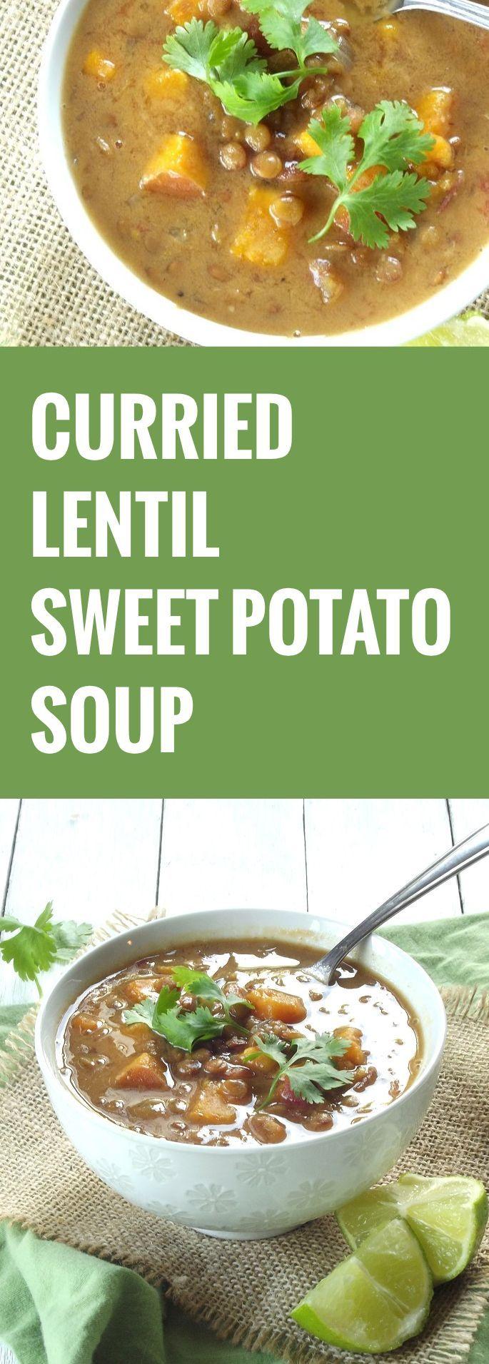 Slow Cooker Curried Lentil Sweet Potato Soup
