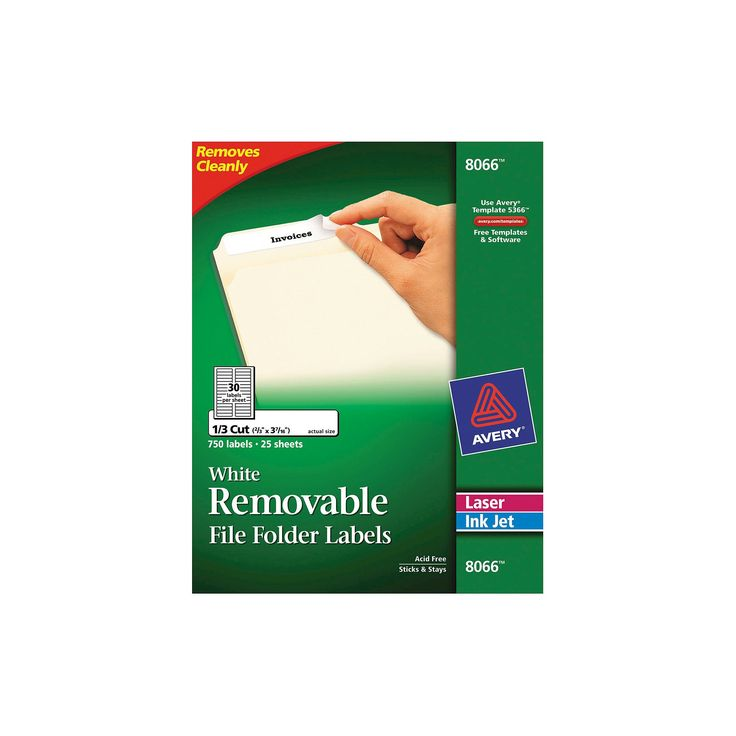 Avery 08066, Removable File Folder Labels, Inkjet/Laser, 2/3 x 3 7/16, White, 750/Pack
