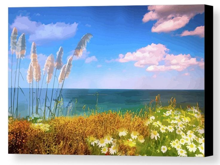 A beautiful coastal seascape. The majestic toi toi grasses and the white daisies make this a  gorgeous painting. The sea is calm and the clouds are barely moving. You can feel the warmth of the day. Who's got the picnic blanket?
