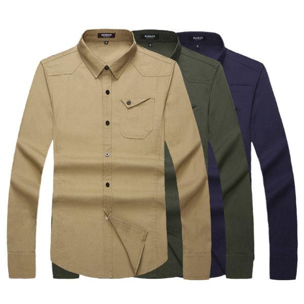 Mens Casual Long Sleeves Shirts Cotton Pure Color Dress Slim Fit Shirt