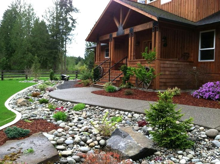 25 best ideas about stone landscaping on pinterest for Front yard design plans