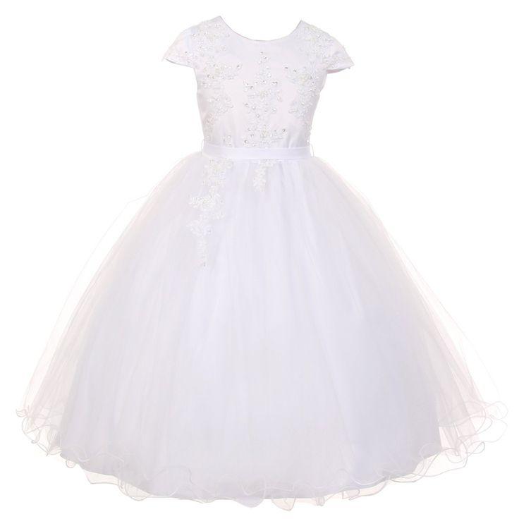 Rainkids Big Girls White Pearl Sequin Tulle Communion Flower Girl Dress 7-16