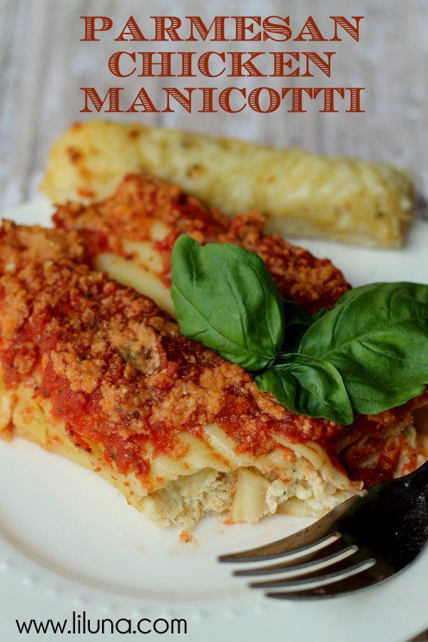 Parmesan Chicken Manicotti - this recipe is a keeper! { lilluna.com }