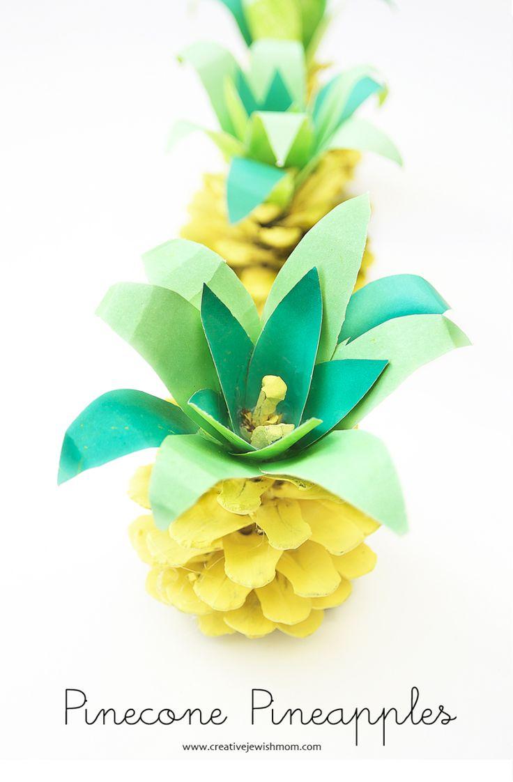 Deko für den Sommer // Pinecone Pineapple Summer // #ananas #basteln