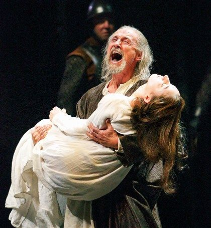 """King Lear"" at the Stratford Festival Lear (Colm Feore) carries the body of Cordelia (Sara Farb)."