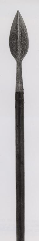 German, Saxony  Boar Spear, c. 1580/1600  Steel, wood (oak), iron nails L. 172.7 cm (68 in.) Blade with socket L. 34.9 cm (13 3/4 in.) Wt. 3 lb. 13 oz.