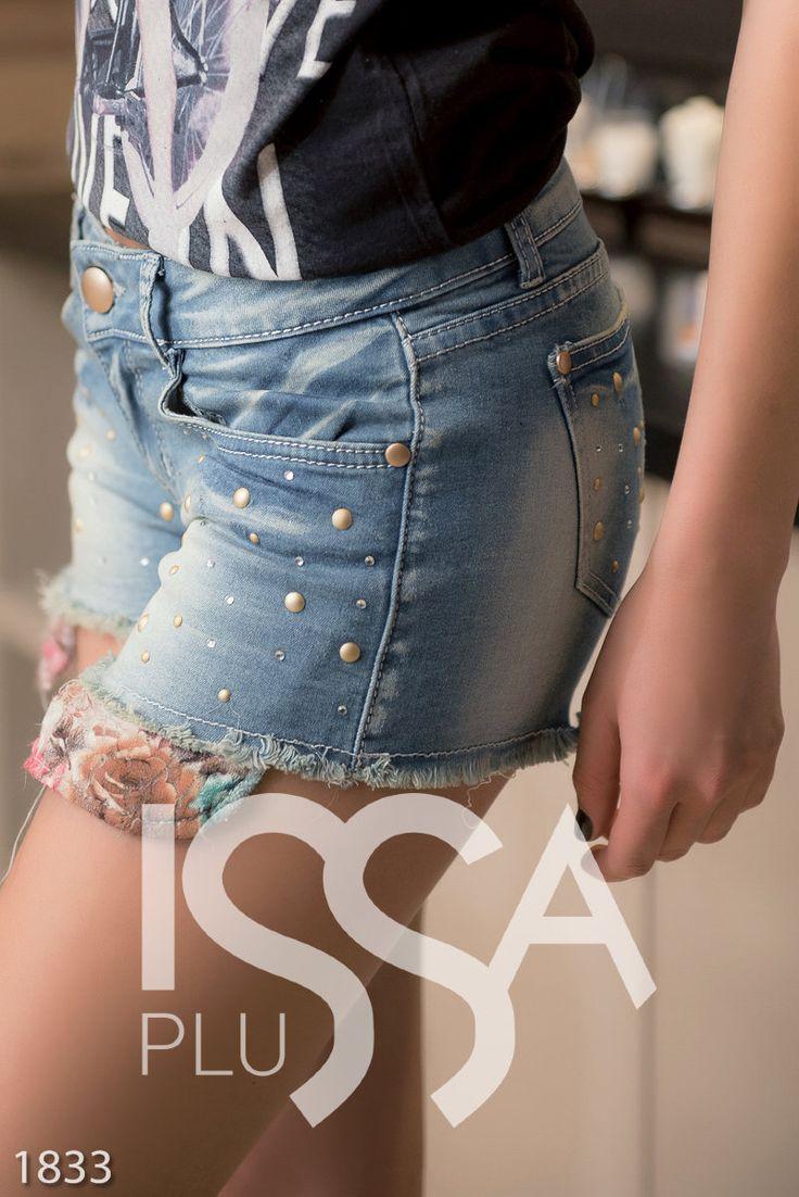 Синие джинсовые шорты с потертостями и матовым декором: 280 грн. фото 3