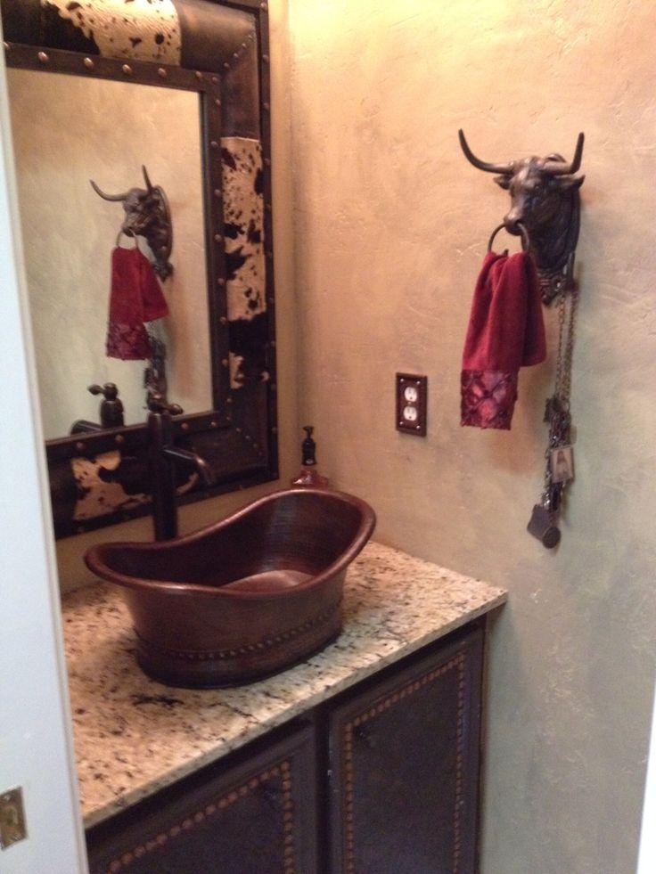 Vessel Sink, Plaster Walls, Western Mirror In Half Bath, Iron Bull Towel  Holder