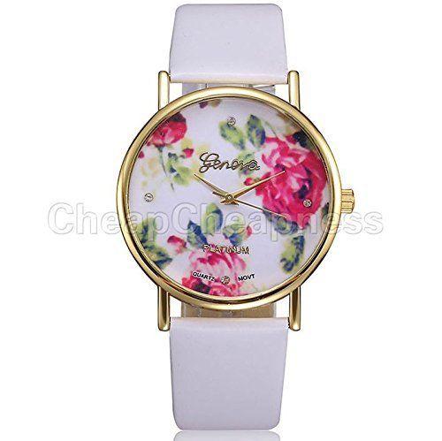 amazing-trading - Damen Armbanduhr mit Genfer Rose, Kunstleder und Quartz - Weiß - http://uhr.haus/amazing-trading/weiss-amazing-trading-damen-armbanduhr-mit-rose