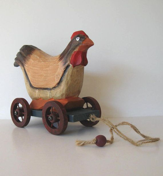 Vintage Wooden Rooster pull toy Primitive by jewelryandthings2