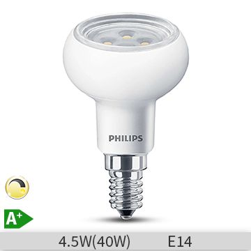 Bec LED reflector Philips 4.5W (40W), E14, 15000 ore, 2700K, lumina calda