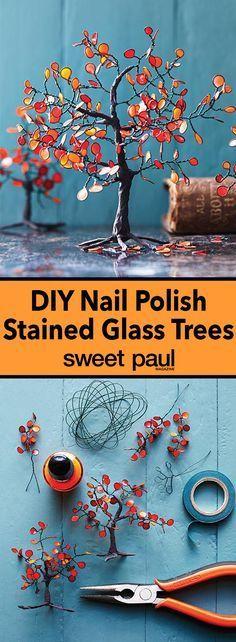 Glasmalerei-Baum gemacht mit Nagellack – Miniaturen