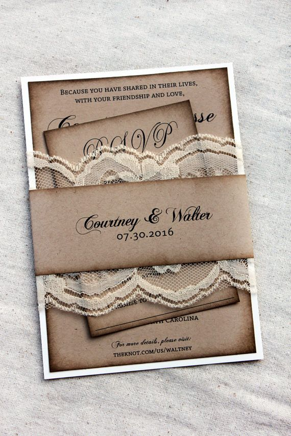Rustic wedding invitations lace wedding invitations barn
