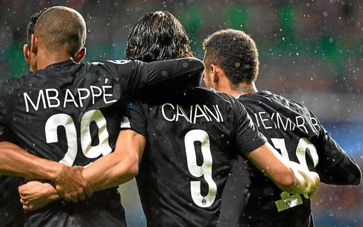Download wallpapers Mbappe, Edinson Cavani, Neymar, PSG, soccer, football stars, Ligue 1, Paris Saint-Germain, Cavani, footballers, Neymar JR