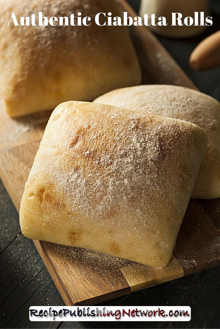Ciabatta is a delicious kind of Italian bread that is often made into sandwich sized rolls which are perfect for burgers. There are two kinds, one, which is quite dense, and the other, which is light and airy with big holes in it.