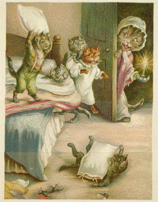 George Henry Thompson, Illustrator: Cat Art, Pillows Fight, Kittens Bedtime, Kittens Prints, Cat Illustrations, Catart, Vintage Kittens, Beatrix Potter, Vintage Color
