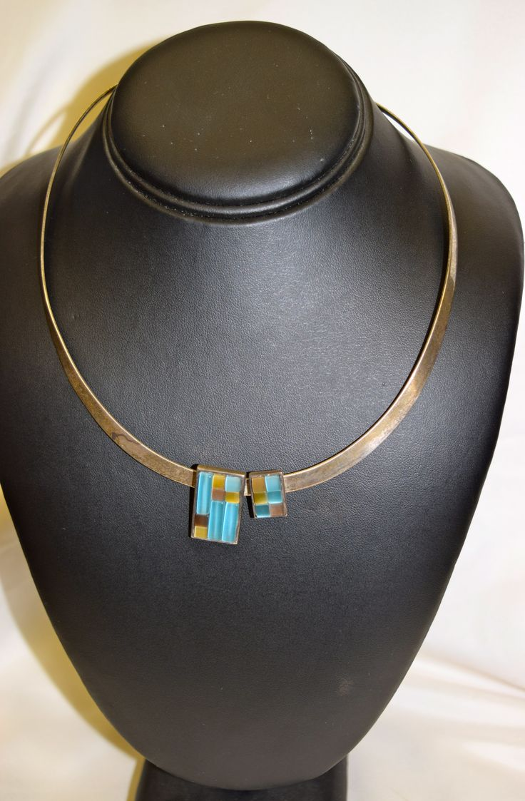 Vintage Silver Necklace with Light Blue Glass