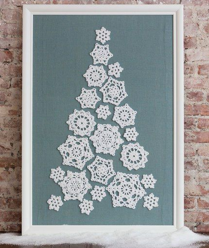 What a pretty display of crocheted snowflakes!