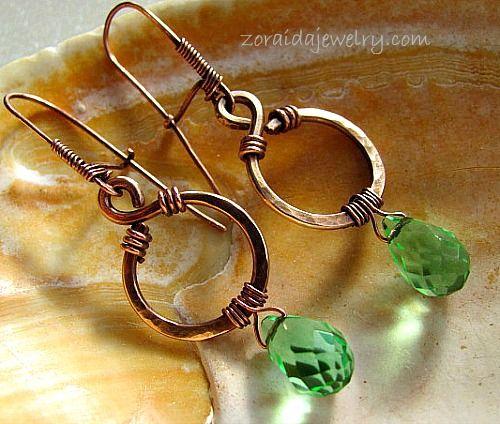 Green Quartz and bronze earrings
