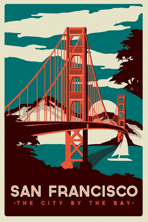 San Francisco Golden Gate Bridge Retro Vintage silk screen printed poster - Etsy $24.99