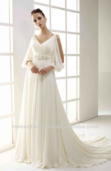 2012 new off shoulder peal sash chiffon grecian goddess for Grecian chiffon wedding dress