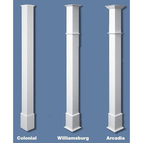 PVC Columns Trim Kits - shows column styles for bases and caps ...