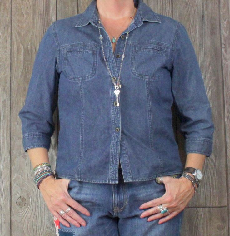 Great J Jill Denim Blouse M size Jean Blue 3.4 Sleeve Fitted Womens Casual Cotton Top