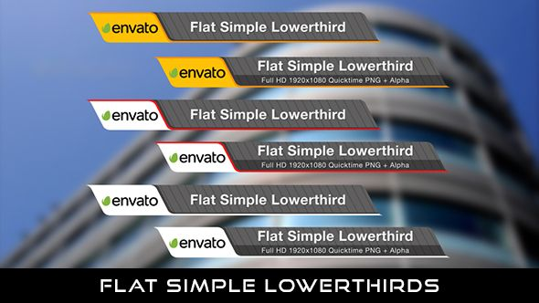 Flat Simple Lowerthird  6 Lowerthirds | Full HD 1920×1080 | Quicktime PNG alpha codec | Each 10 seconds.  If you want to change the color, you can change with hue saturation.  If you love my work, don't forget to rate it. Thank you.  #envato #videohive #aftereffects #motiongraphic #animatedlowerthird #broadcast #caption #color #corporate #elegant #flat #modern #presentation #professional #simple #television #text #title #youtube