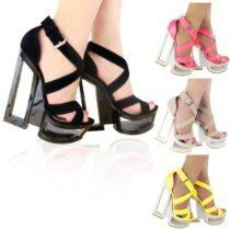 WOMENS LADIES BLOCK HIGH HEELS CUT OUT STRAPPY SEE THROUGH PLATFORM WEDGES SANDALS SHOES SIZE