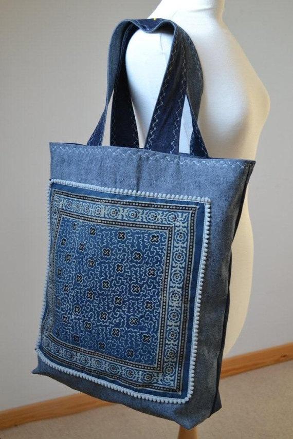 Indigo Jeans Tote Ajrak handprinted fabric Bag by margoshka, $40.00
