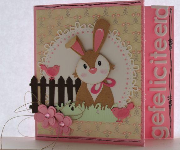 Gemaakt door Joke # Verjaardagskaart met konijntje - voor Joelle