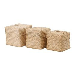NIPPRIG 2015 Box with lid, set of 3 - seagrass - IKEA