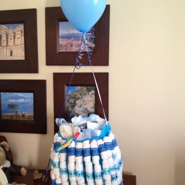 diaper cake hot air balloon baby shower pinterest. Black Bedroom Furniture Sets. Home Design Ideas
