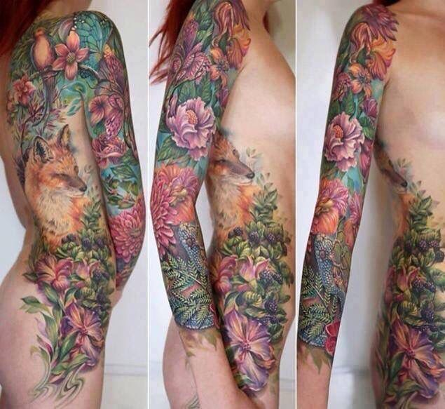 Floral and fox tattoo by Rom Azovsky. Full sleeve and full right side of back and hip.