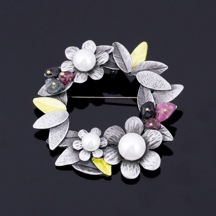 JUJIE Simulated Pearl Flower Brooches For Women 2016 Fashion Nature Stone Brooches Pins Vintage Bauhinia Scarves Buckle Pendants