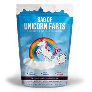 Sugar is sweet, lemons are tart.  We love you more than a Bag of Unicorn Farts!  A perfect gift for the lovers, the dreamers and you!  It's not an illusion... we've captured the essence of unicorn farts in a relentlessly cheerful vacuum sealed gift bag for your friend or loved one in need of some magical healing!