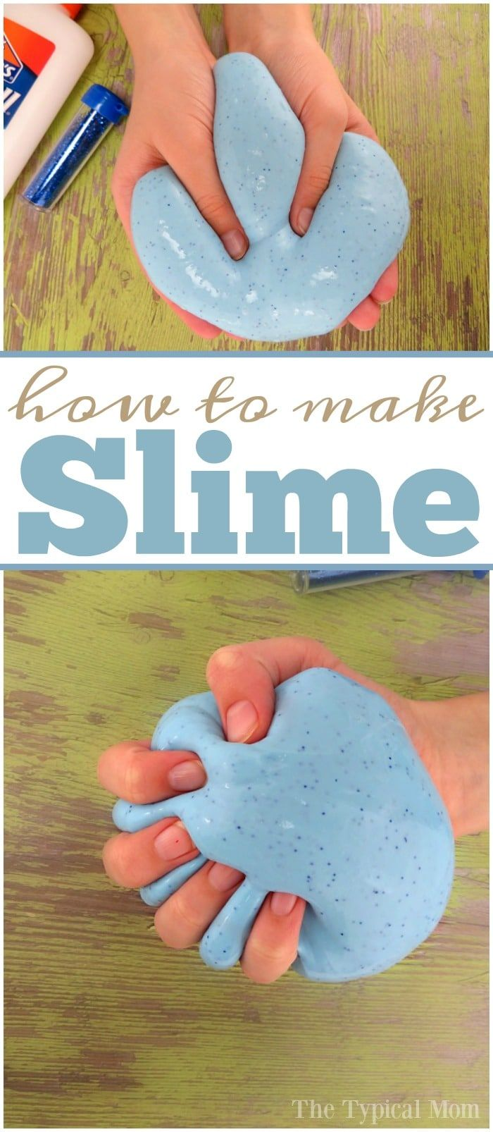 How to make slime with glue and a little glitter inside too! Easy recipe using just a few ingredients, and you can make it any color you like. via @thetypicalmom