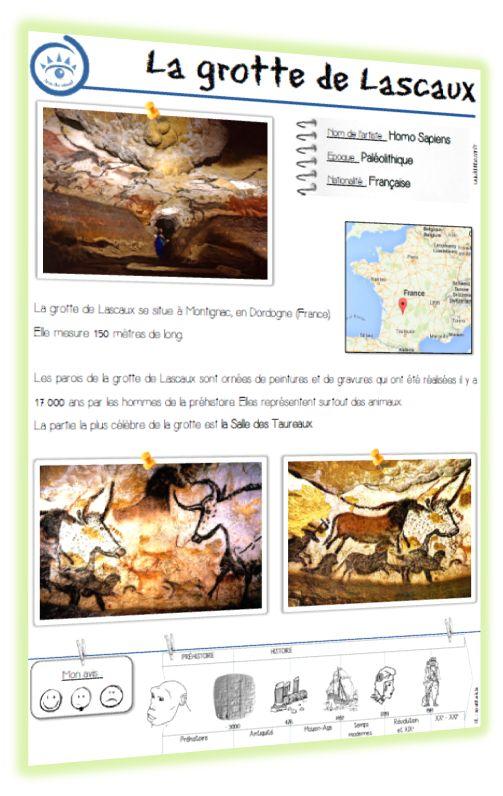 Lascaux : diaporama + fiche-oeuvre L'art pariétal : documentaire - cycle 2
