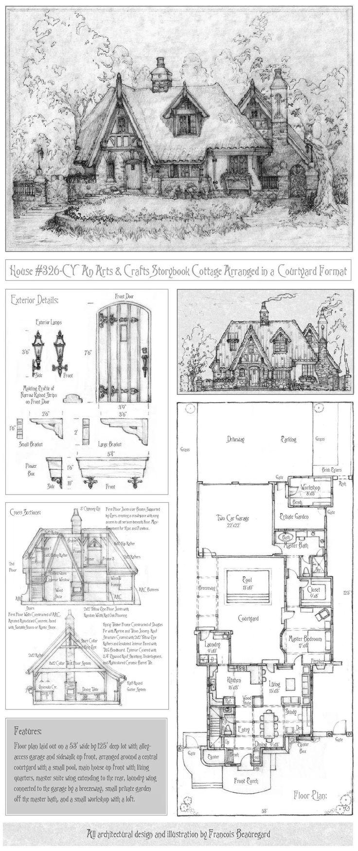 Storybook house floor plans for Old world house plans