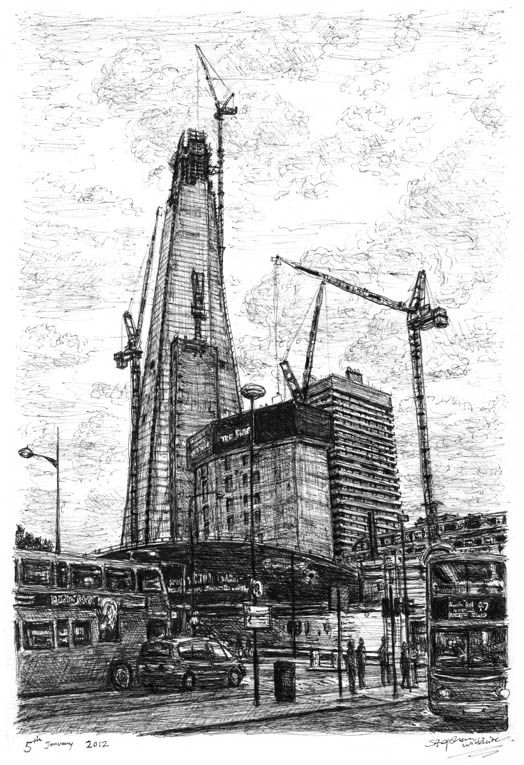 Construction of Shard of Glass (London) - drawings and paintings by Stephen Wiltshire MBE