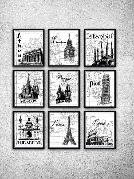World travel art travel poster set milan london paris rome for Black and white celebrity prints