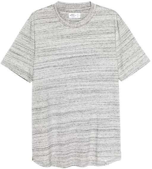 H&M - T-shirt with Ribbing - Light gray melange - Men